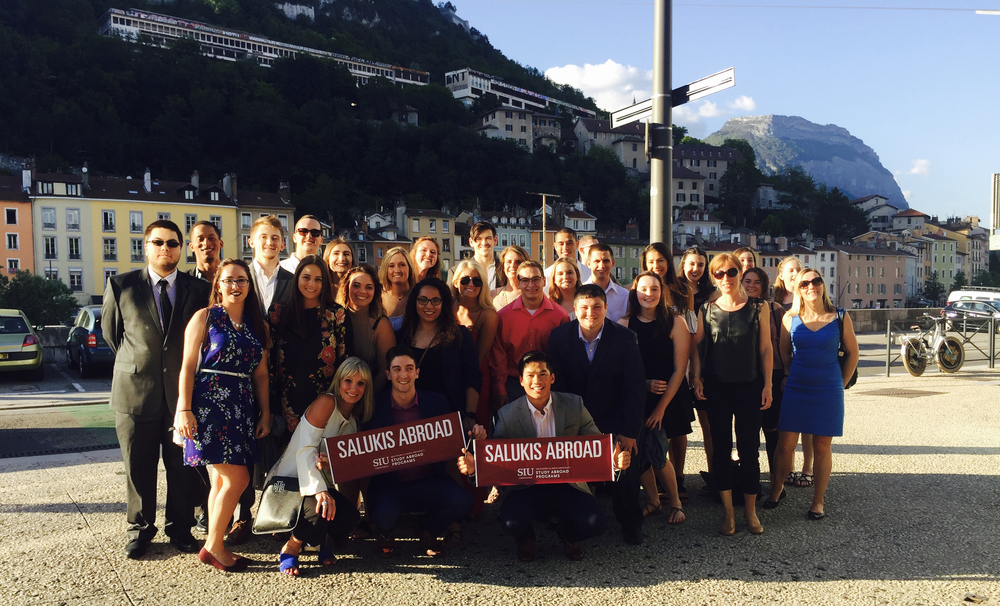 A photograph of a group of SIU students in Grenoble, France